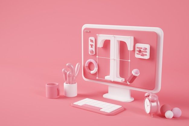 Surreales desktop-3d-rendering des grafikdesigns