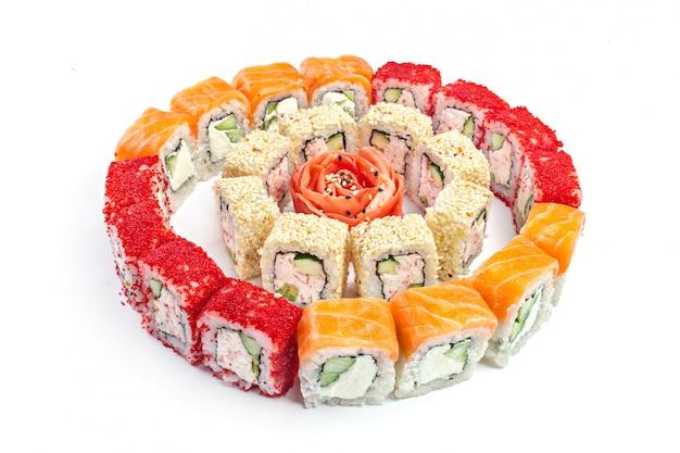 Sushi eingestellt auf weiß