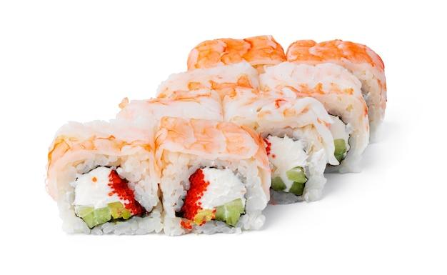 Sushi-rolle der japanischen küche auf einem weiß