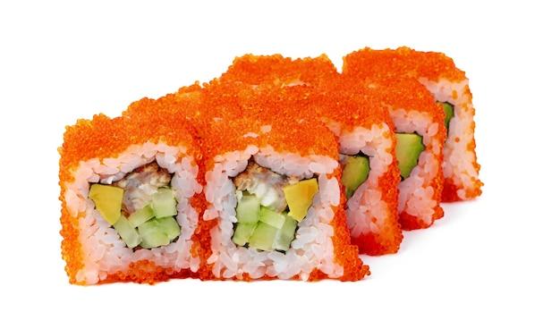 Sushi-rolle der japanischen küche auf einer weißen oberfläche