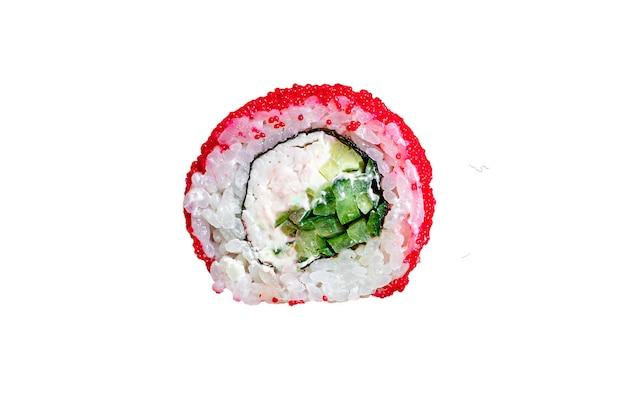 Sushi-rollen setzen lachs, forelle, thunfisch, tobiko kaviar frischen snack
