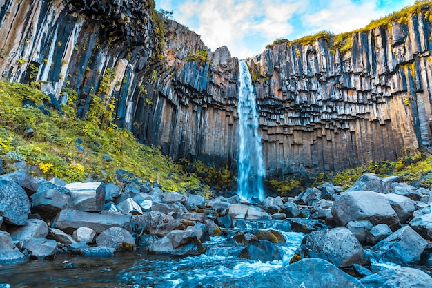 Svartifoss wasserfall, der schönste wasserfall in südisland