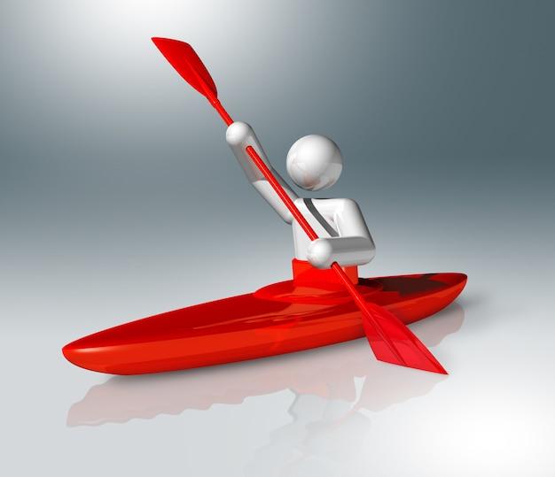 Symbol des kanuslaloms 3d, olympischer sport