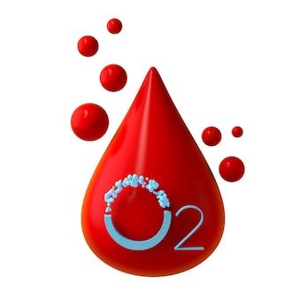 Symbol für blutsauerstoffsättigung minimales und modernes design 3d-darstellung