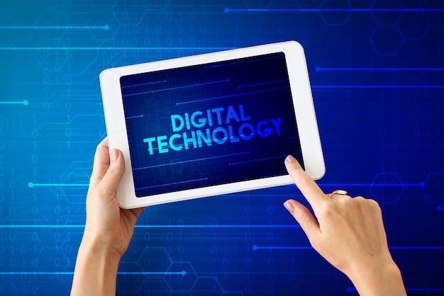 Symbol für die änderung der digitalen technologie für innovation