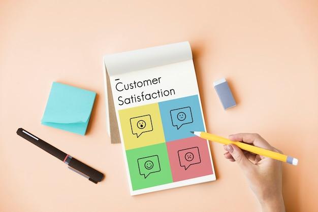 Symbol für feedback zur kundendienstzufriedenheit
