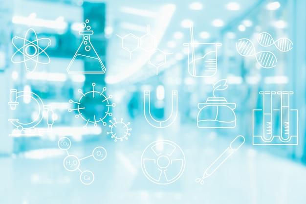 Symbol für laborwissenschaftstechnologie in bezug auf chemiemedizinforschung auf abstrakter unschärfe und defokussiertem hintergrund, biologie und chemischem konzept