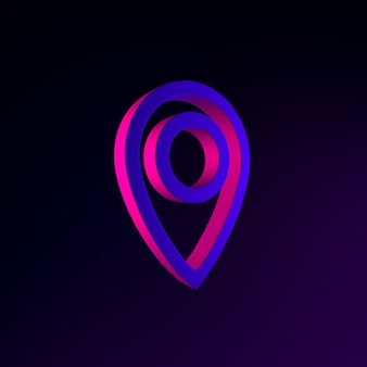 Symbol für lineare umrisse des standortneonsymbols. 3d-rendering-ui-ux-schnittstellenelement. dunkel leuchtendes symbol.