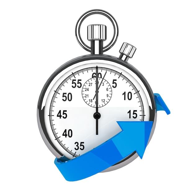 Symbol für schnelle lieferung. stoppuhr mit blauem pfeil auf weißem hintergrund