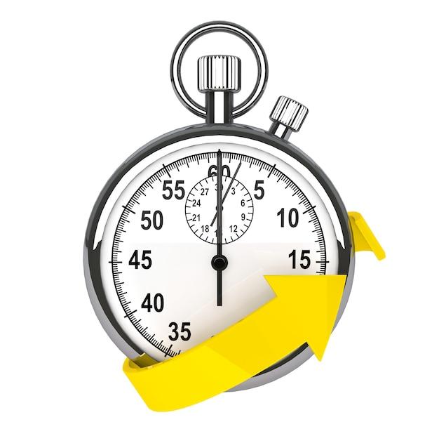 Symbol für schnelle lieferung. stoppuhr mit gelbem pfeil auf weißem hintergrund