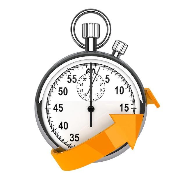 Symbol für schnelle lieferung. stoppuhr mit orangem pfeil auf weißem hintergrund