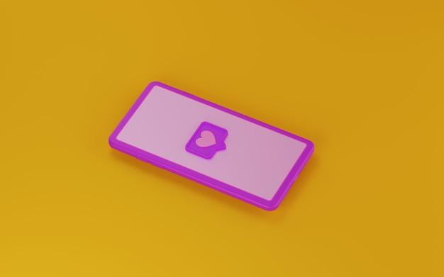 Symbol für social media-benachrichtigungen auf dem bildschirm. 3d-rendering.