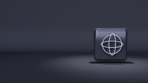 Symbol internet 3d-rendering auf dunklem hintergrund und highlights