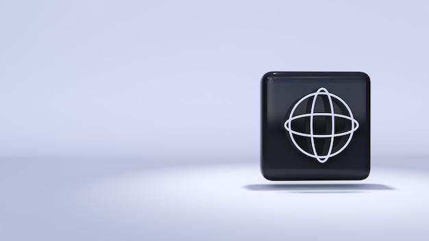 Symbol internet 3d-rendering auf weißem hintergrund und highlights