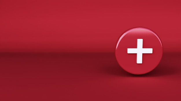 Symbol plus mit rotem hintergrund. 3d-rendering