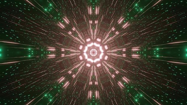 Symmetrische 3d-illustration von leuchtend rosa und grünen funken, die glänzen und rundes ornament bilden