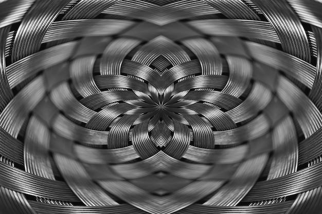 Symmetrische silberne metallische weidenbeschaffenheitsnahaufnahme.
