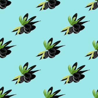 Symmetrisches gouachemuster des olivenbaumzweigs mit schatten auf türkis. flach liegen. minimale isometrische lebensmitteltextur. handgemalte botanische illustration für textilien, stoffe, menüs, restaurants.