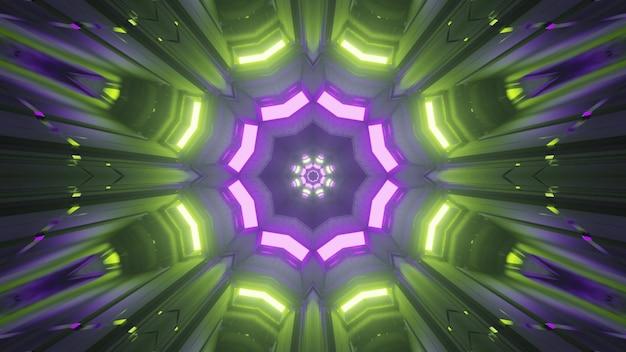 Symmetrisches kaleidoskopisches kristallförmiges ornament, das mit hellgrünen und violetten neonlichtern in einem abstrakten futuristischen tunnel in 4k uhd 3d-illustration schimmert