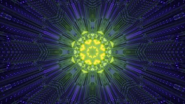 Symmetrisches leuchtend gelbes blütenförmiges ornament, das innerhalb des dunkelblauen neontunnels leuchtet
