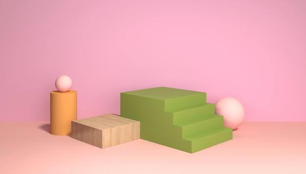 Szenario mit treppen und geometrischen formen für die ausstellung