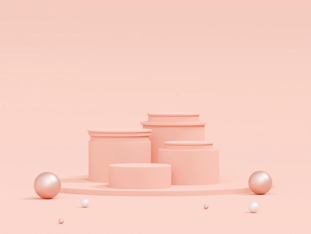 Szene der pastellfarbe mit geometrischem formpodest auf rosa hintergrund, 3d-rendering