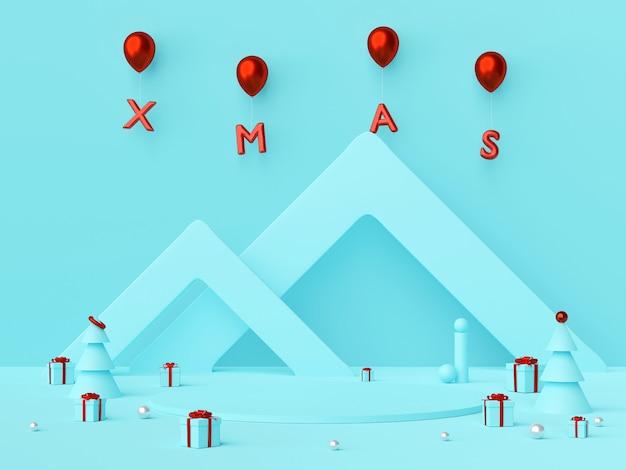 Szene des leeren podiums für ihr produkt mit weihnachtsgeschenken und rotem weihnachtsballon, 3d-rendering