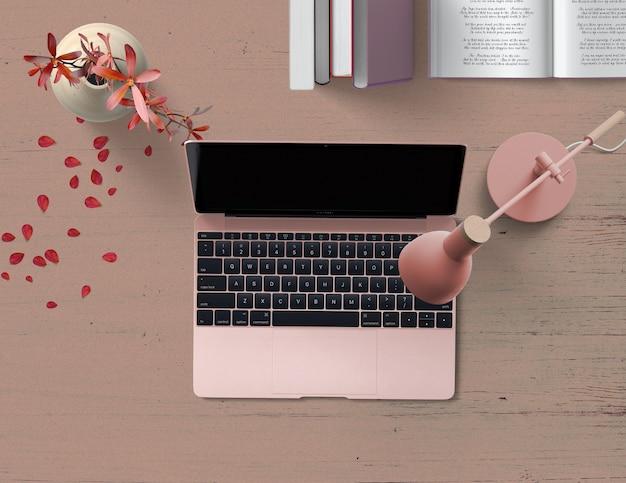 Szene des rosa notizbuches mit blumenblumenblättern und büchern einer lampe