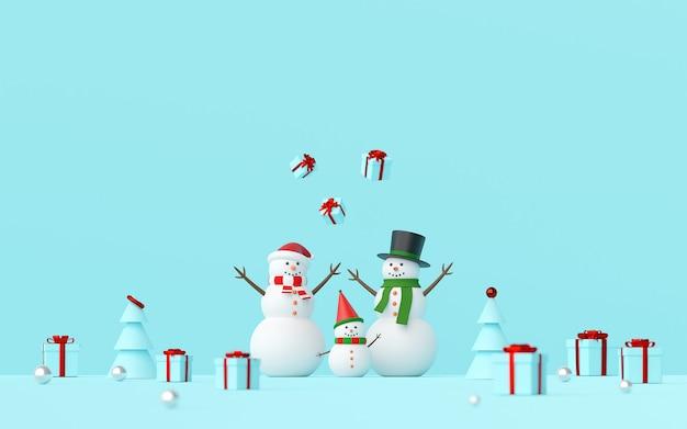 Szene des schneemanns feiern weihnachtsgeschenke auf einem blauen hintergrund, 3d-rendering