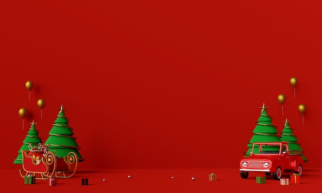 Szene des weihnachtslastwagens voller weihnachtsgeschenke und schlittenhintergrund