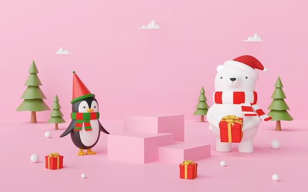 Szene des weihnachtspodestes mit bär und pinguin auf einem rosa hintergrund, 3d-rendering