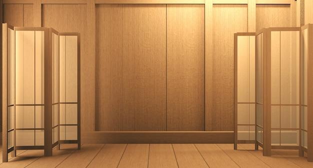 Szene leerer raum mit dekoration und tatami-mattenboden. 3d-rendering