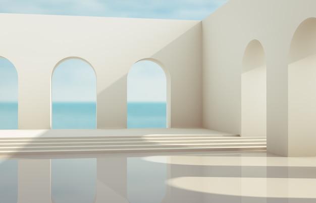 Szene mit geometrischen formen, bogen mit einem podium im natürlichen tageslicht. minimaler landschaftshintergrund. seeblick. 3d render hintergrund.