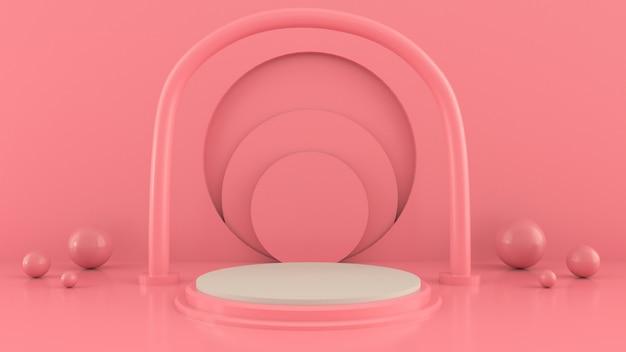 Szene mit geometrischen formen, bogen mit einem podium in den pastellfarben, pastellplattform, 3d übertragen