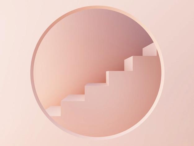 Szene mit geometrischen formen. geometrische formen mit treppen und kreis.