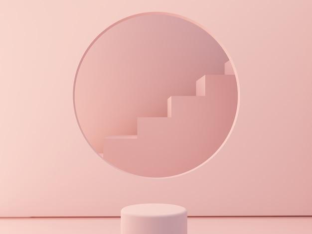 Szene mit geometrischen formen mit leerem podium. geometrische formtreppen und rahmenkreisform