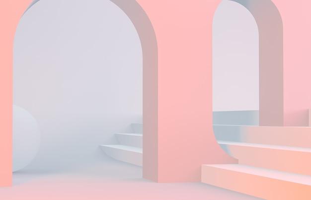 Szene mit geometrischen formen wölben sich mit einem podium
