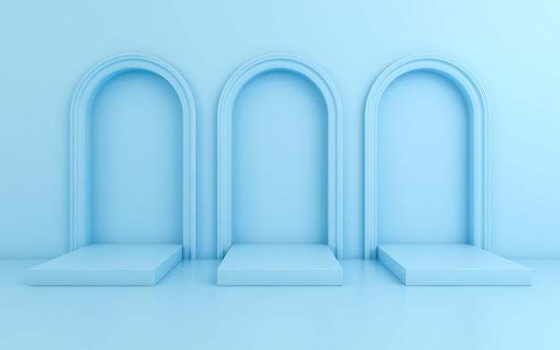 Szene mit minimalem hintergrund, bogen mit einem podium, 3d übertragen