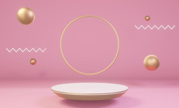 Szene mit rosa und goldenen formen mit podium für produkt Premium Fotos