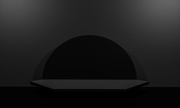 Szene mit schwarzem farbpodium für mock-up-präsentation im minimalismus-stil mit kopienraum, 3d-rendering abstraktes hintergrunddesign