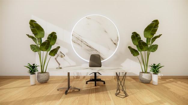 Szenenbüro schreibtisch steht im büro. 3d-rendering