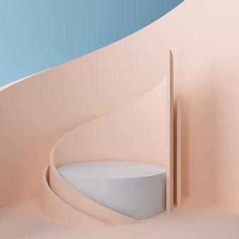 Szenendesign von 3d geometrisch mit modernem unbedeutendem modell für podiumanzeige oder schaukasten, wiedergabe 3d.