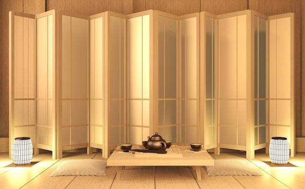 Szenenraum sehr zen-stil mit dekoration japanischen stil auf tatami mat.3d rendering