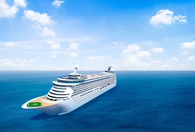 Szenische ansicht des ozeans mit kreuzschiff.