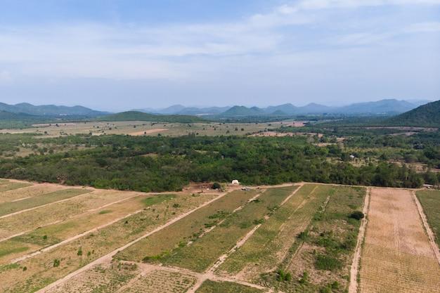 Szenische landschaft der brummenschussvogelperspektive des landwirtschaftsbauernhofes gegen berg und naturwald
