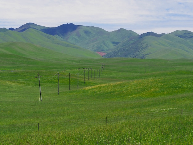 Szenische landschaft, wiesen, berge und schöne himmel