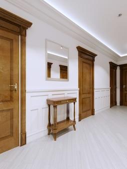 Tabelle für schlüssel in einem modernen klassischen innenkorridor. 3d-rendering.