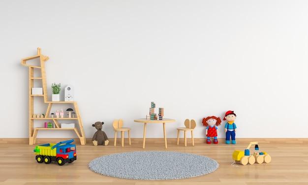 Tabelle und stuhl im weißen kinderraum