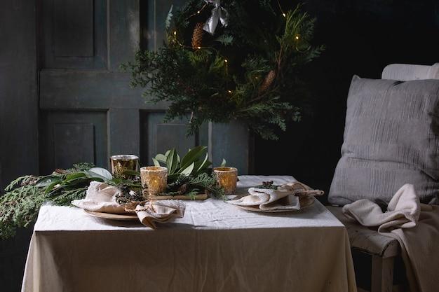 Tabelleneinstellung des weihnachten oder des neuen jahres