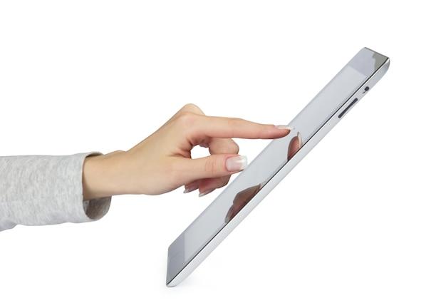 Tablet-computer in händen